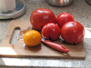 tomatoes on a board