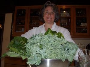 Monica hugging leafy greens!